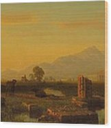 Ruins Of Paestum Wood Print by Albert Bierstadt