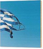 Rundown Greece Flag Wood Print