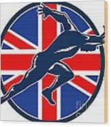Runner Sprinter Start British Flag Circle Wood Print by Aloysius Patrimonio