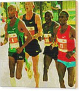 Runners Wood Print
