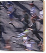 Runners Along Street In A Marathon Blurred And Abstract Wood Print