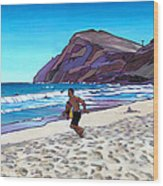 Running At Makapuu Wood Print