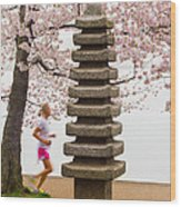 Running By The Tidal Basin Wood Print