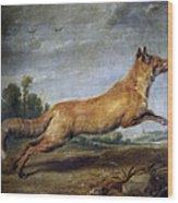 Running Fox Wood Print