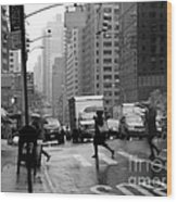 Running In The Rain - New York City Street Scene Wood Print