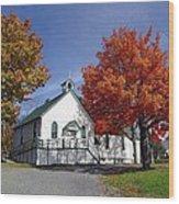 Rural Church In Autumn Wood Print