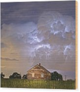 Rural Country Cabin Lightning Storm Wood Print