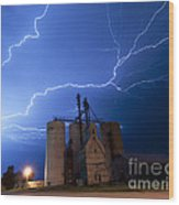 Rural Lightning Storm Wood Print