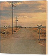 Rural Railroad Crossing Wood Print