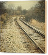Rural Railroad Tracks Wood Print