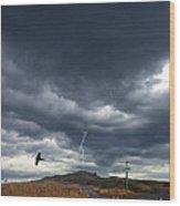 Rural Road In Lightning Storm Wood Print
