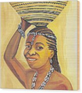 Rural Woman From Cameroon Wood Print