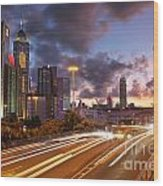 Rush Hour During Sunset In Hong Kong Wood Print