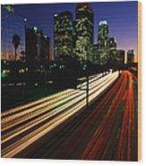 Rush Hour Harbor Freeway Los Angeles Ca Wood Print