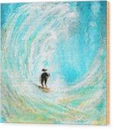 Rushing Beauty- Surfing Art Wood Print