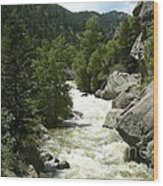 Rushing Water In Boulder Canyon Wood Print