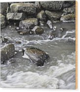 Rushing Water Wood Print
