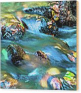 Rushing Water Over Fall Leaves Wood Print