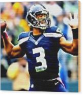 Russell Wilson Smooth Delivery Wood Print