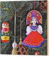 Russian Christmas Tree Decoration In Fredrick Meijer Gardens And Sculpture Park In Grand Rapids-mi Wood Print
