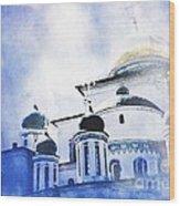 Russian Church In A Blue Cloud Wood Print