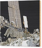 Russian Cosmonauts Working Wood Print