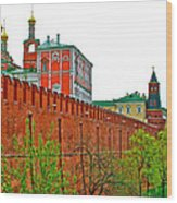 Russian Orthodox Church From Park Outside The Kremlin In Moscow-russia Wood Print