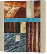 Rust And Rocks Rectangles Wood Print