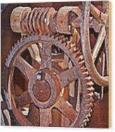 Rust Gears And Wheels Wood Print
