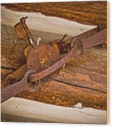 Rust Trapped On A Log - Old Trap - Casper Wyoming Wood Print