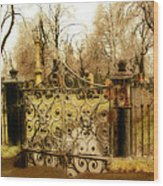 Rusted Cemetery Gate Wood Print