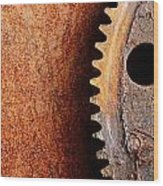 Rusted Gear Wood Print