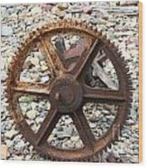 Rusted Gear Wheel Glacier National Park Montana Wood Print