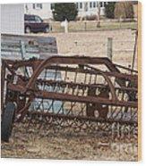 Rusted Hay Rake Wood Print