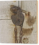 Rusted Lock Wood Print