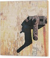 Rusted Metal Abstraction Wood Print by Ann Powell