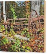 Rusted Old Plow Wood Print