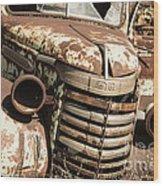 Rusted Pickup  Wood Print