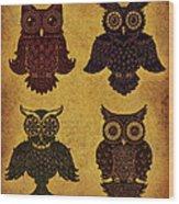 Rustic Aged 4 Owls Wood Print