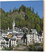 Rustic Alpine Village Wood Print