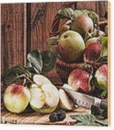 Rustic Apples Wood Print by Amanda Elwell
