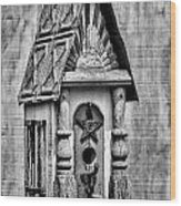 Rustic Birdhouse - Bw Wood Print