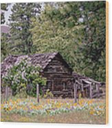 Rustic Cabin In The Mountains Wood Print