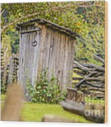 Rustic Fence And Outhouse Wood Print