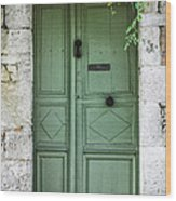 Rustic Green Door With Vines Wood Print