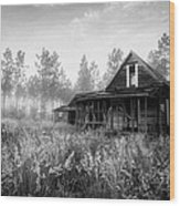 Rustic Historic Woodlea House - Black And White Wood Print