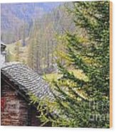 Rustic House And Tree Wood Print