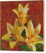 Rustic Lilies 2 Wood Print