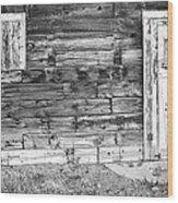 Rustic Old Colorado Barn Door And Window Bw Wood Print