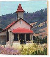 Rustic Old Schoolhouse Near San Simeon California Wood Print